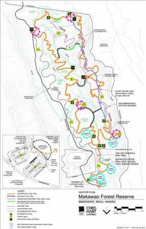 Trail Map for the Makawao Forest Trails